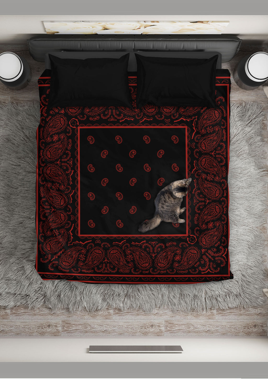 Black and Red Bandana Duvet Cover Set