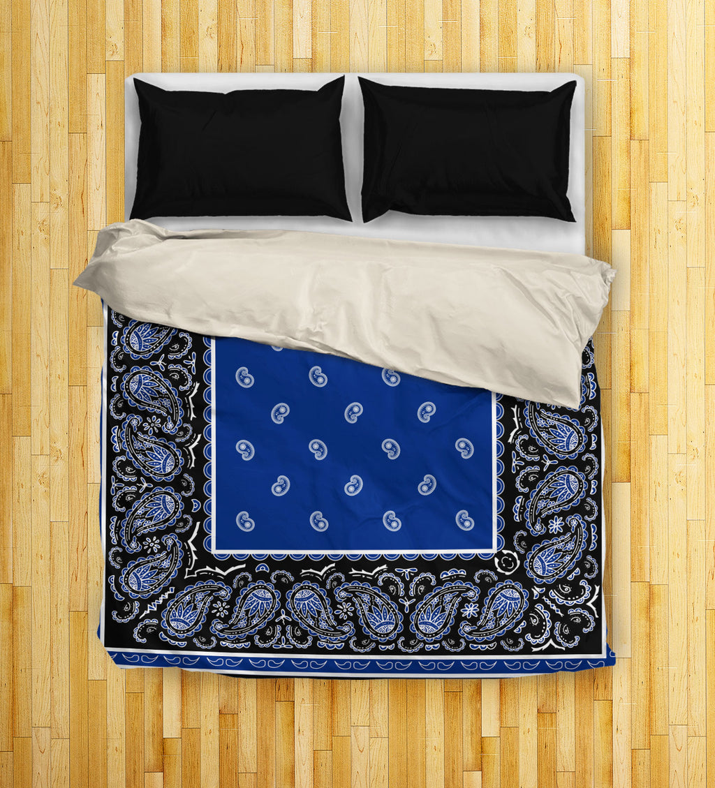 blue and black bandana duvet covers