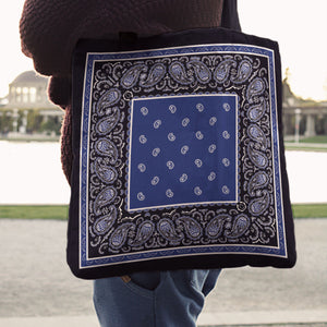 blue with black bandana tote bags