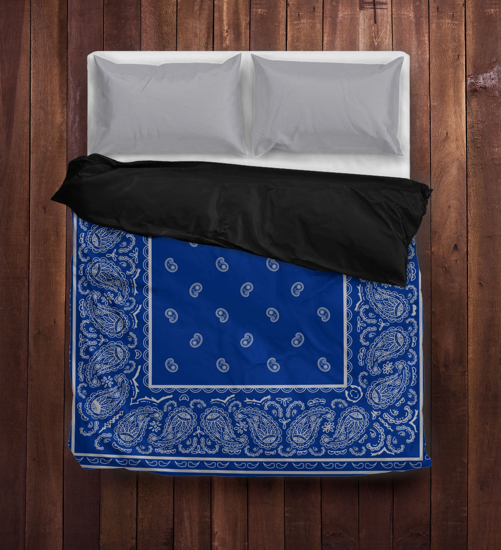 blue and gray bandana duvet bedding