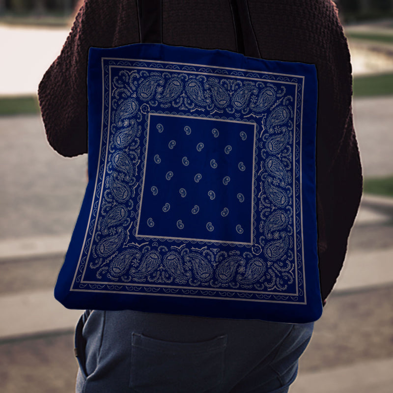 Blue and Gray Bandana Bag