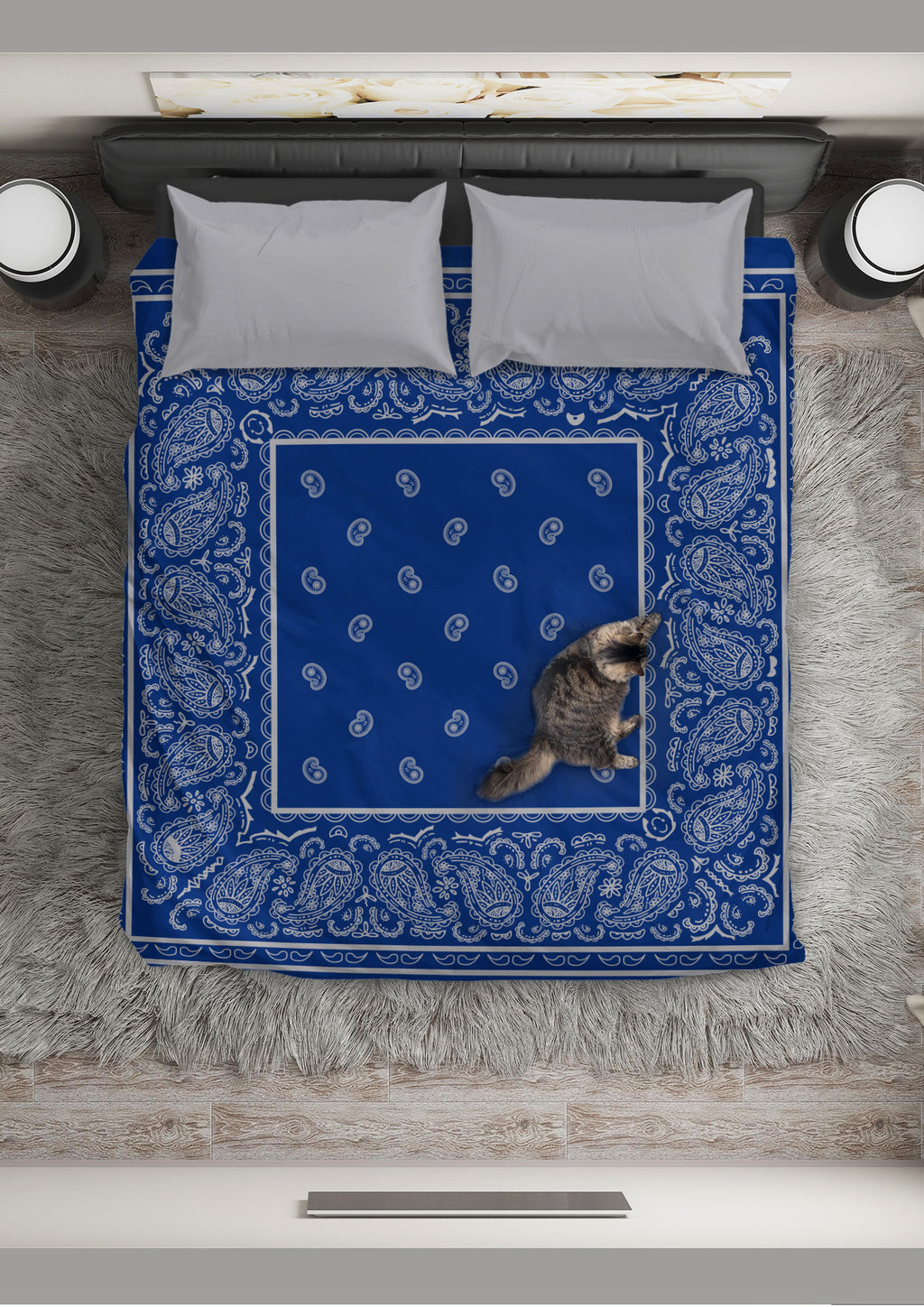 blue and gray bandana bedroom set