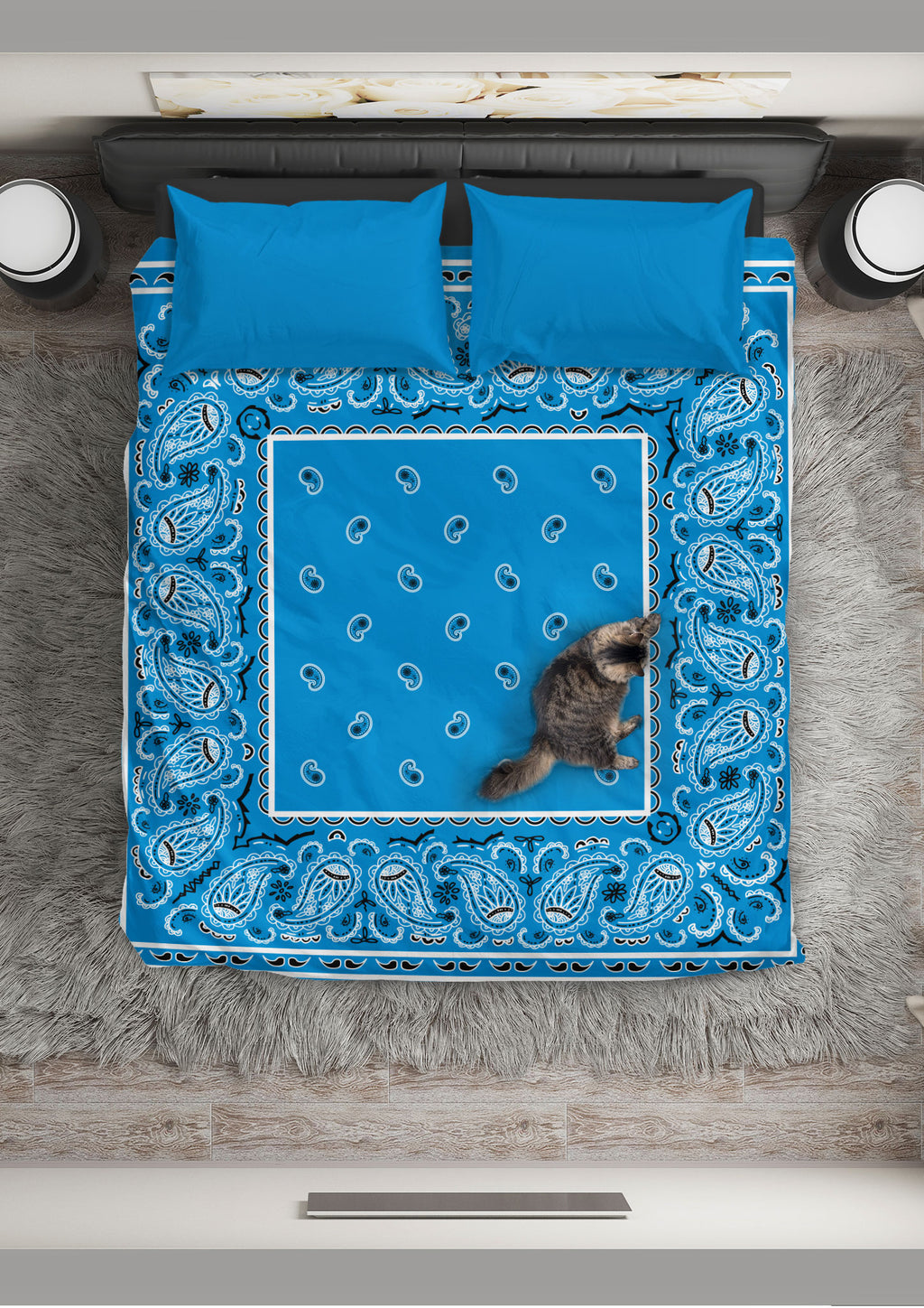 Sky Blue Bandana Duvet Cover Set