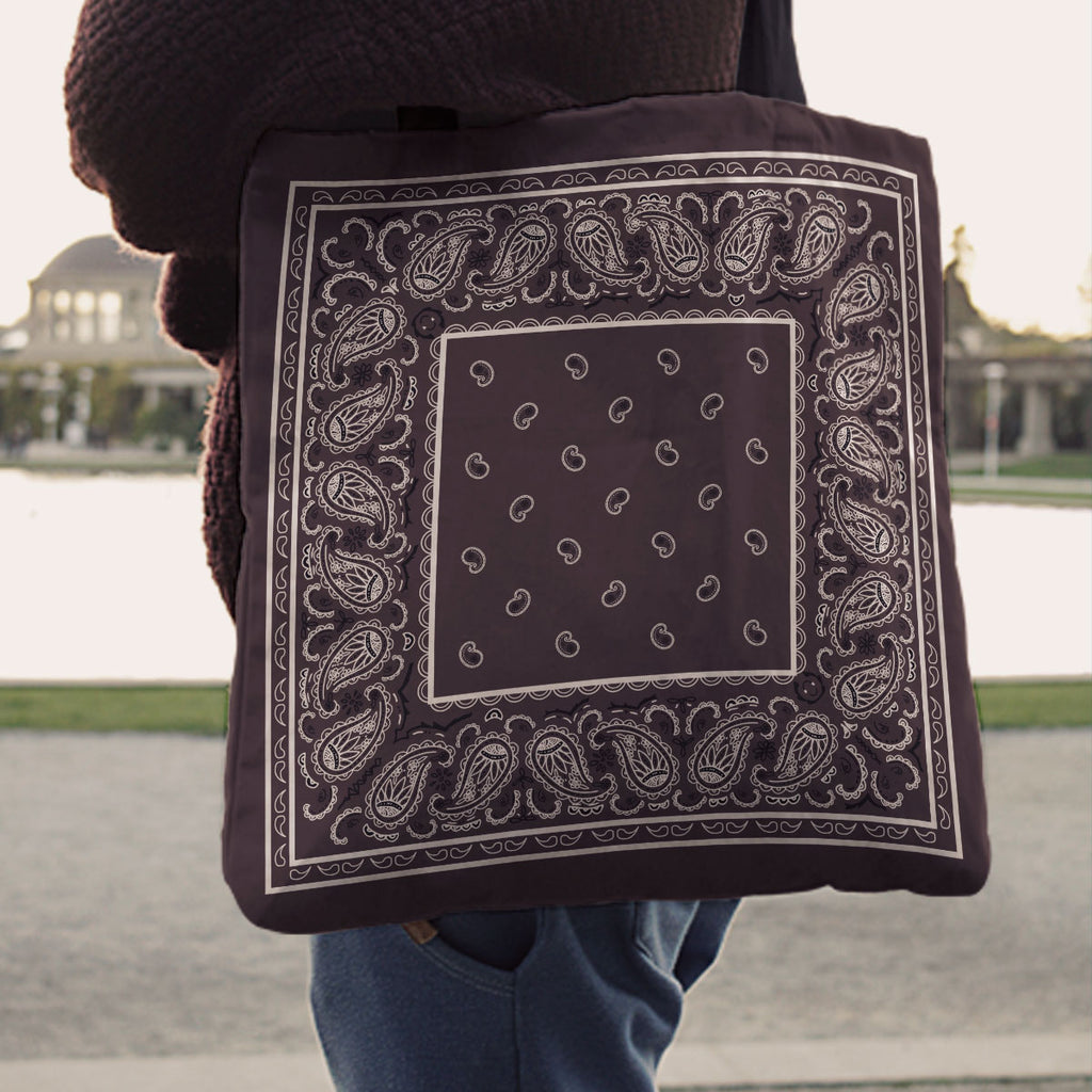 coffee brown bandana tote bags