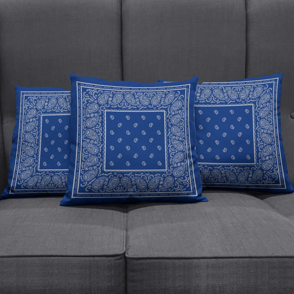 Blue and Grey Bandana Pillow Covers