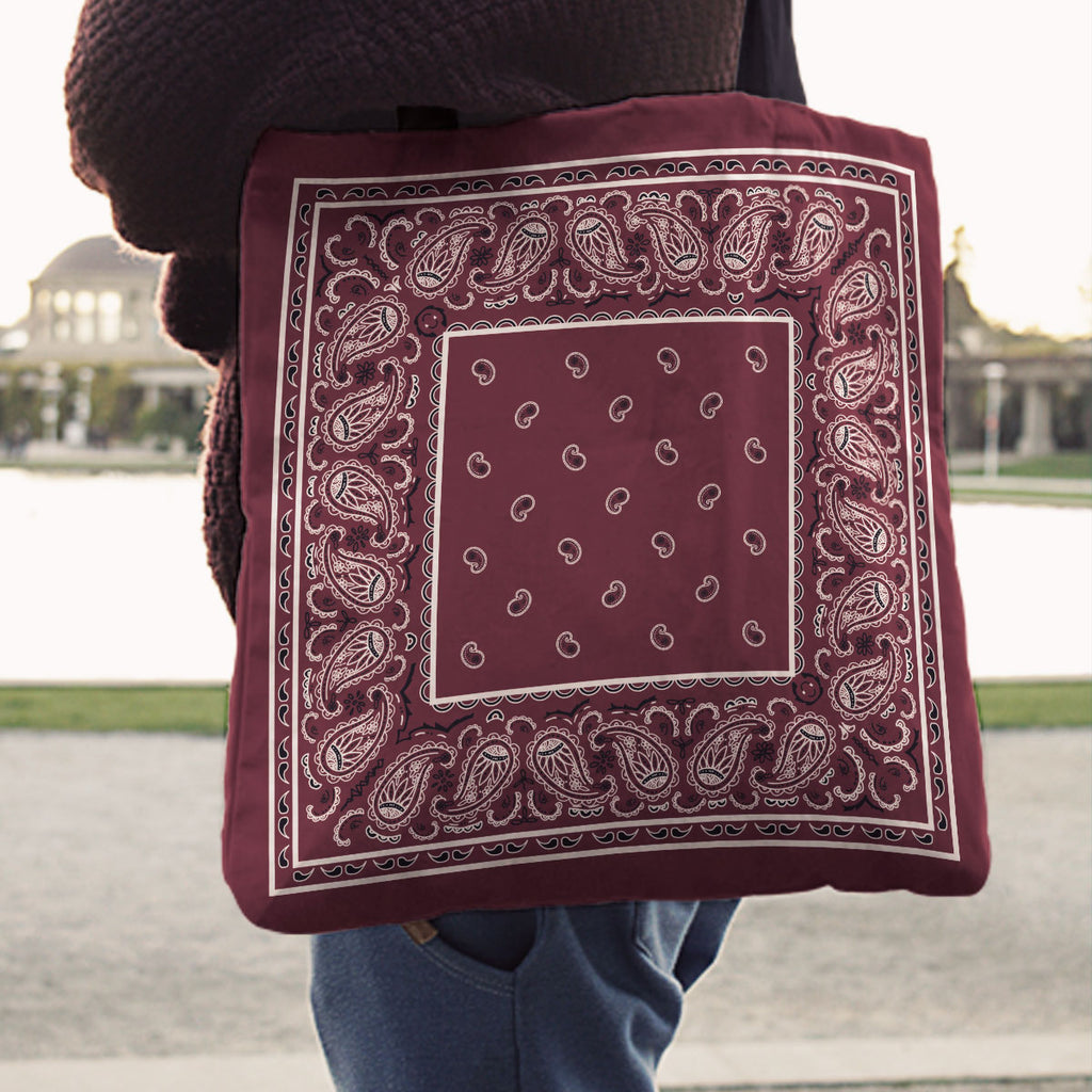burgundy red bandana totes