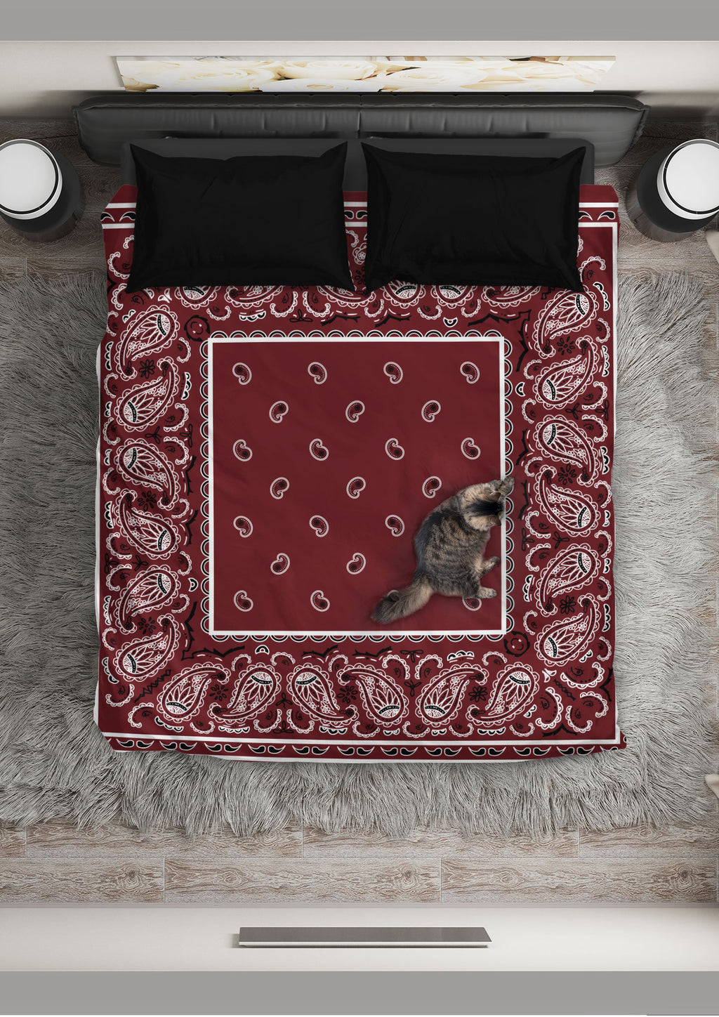 Burgundy Bandana Duvet Cover Sets