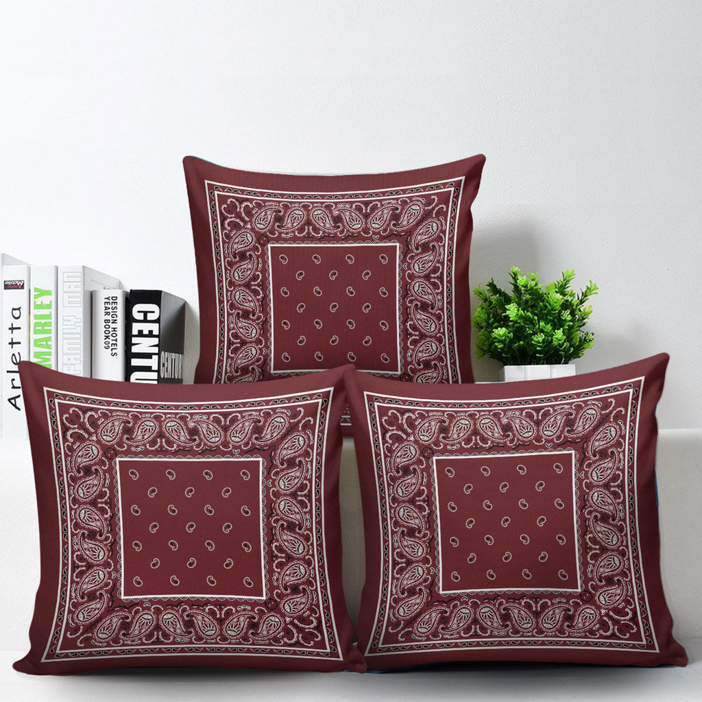 burgundy red bandana throw pillows