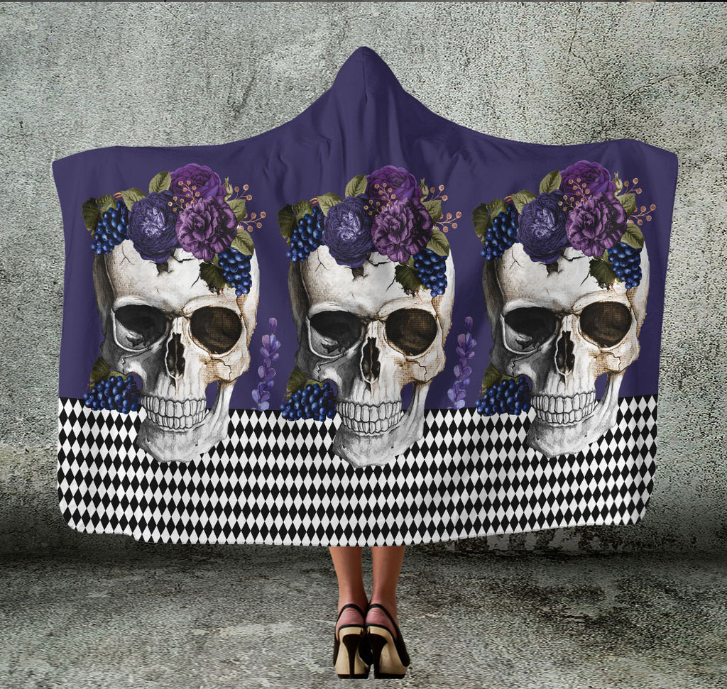 purple skulls hooded blanket