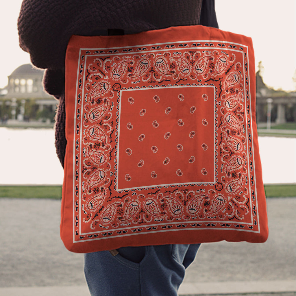 Orange Paisley Bandana Tote Bag