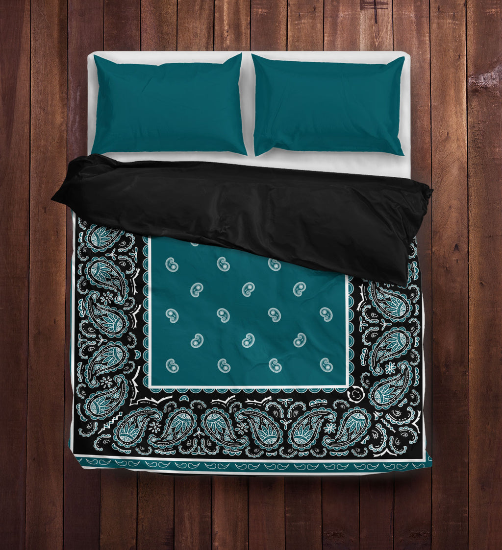 Peacock and Black Bandana Duvet Cover Set