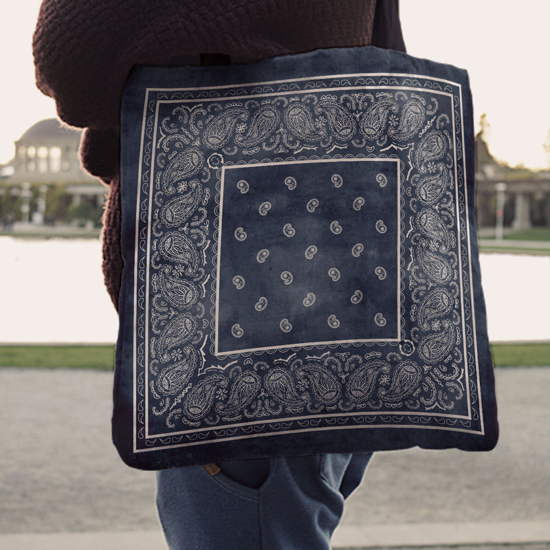 blue jeans bandana tote bag