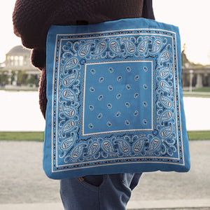 sky blue bandana tote bag