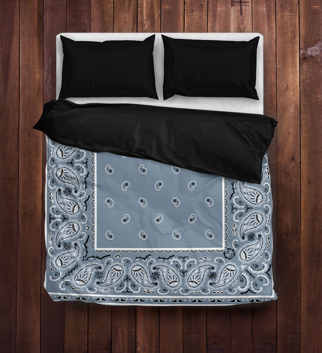 Slate Blue Bandana Duvet Cover Set