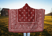 Ultimate Faded Red Bandana Hooded Blanket