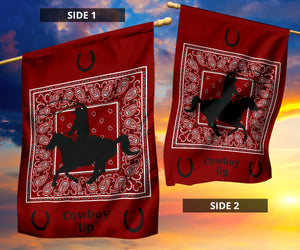 Maroon Bandana Cowboy Up Home and Garden Flags