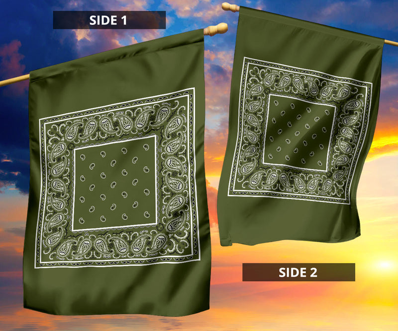 Army Green Bandana Home and Garden Flags