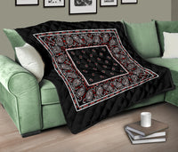 Wicked Black Bandana Quilted Throw Blanket
