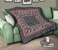 Gray Bandana Quilted Throw Blanket