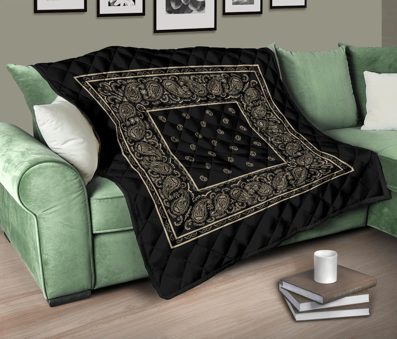 Black and Khaki Bandana throw Quilts
