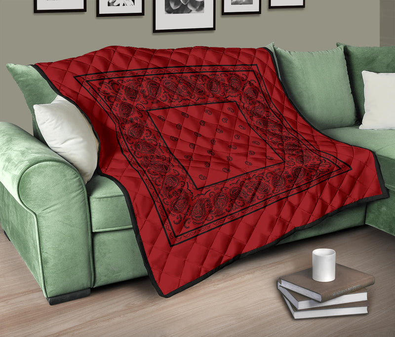 Red with Black Bandana Quilted Throw Blanket