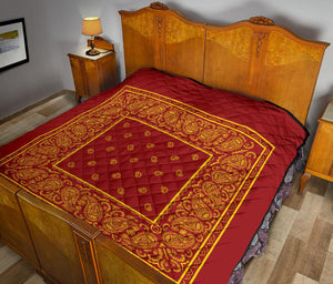 Queen Red and Gold Bandana Quilts