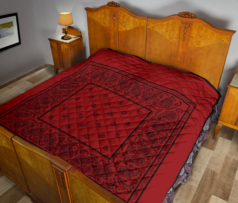 Red with Black Bandana Quilted Bedspread