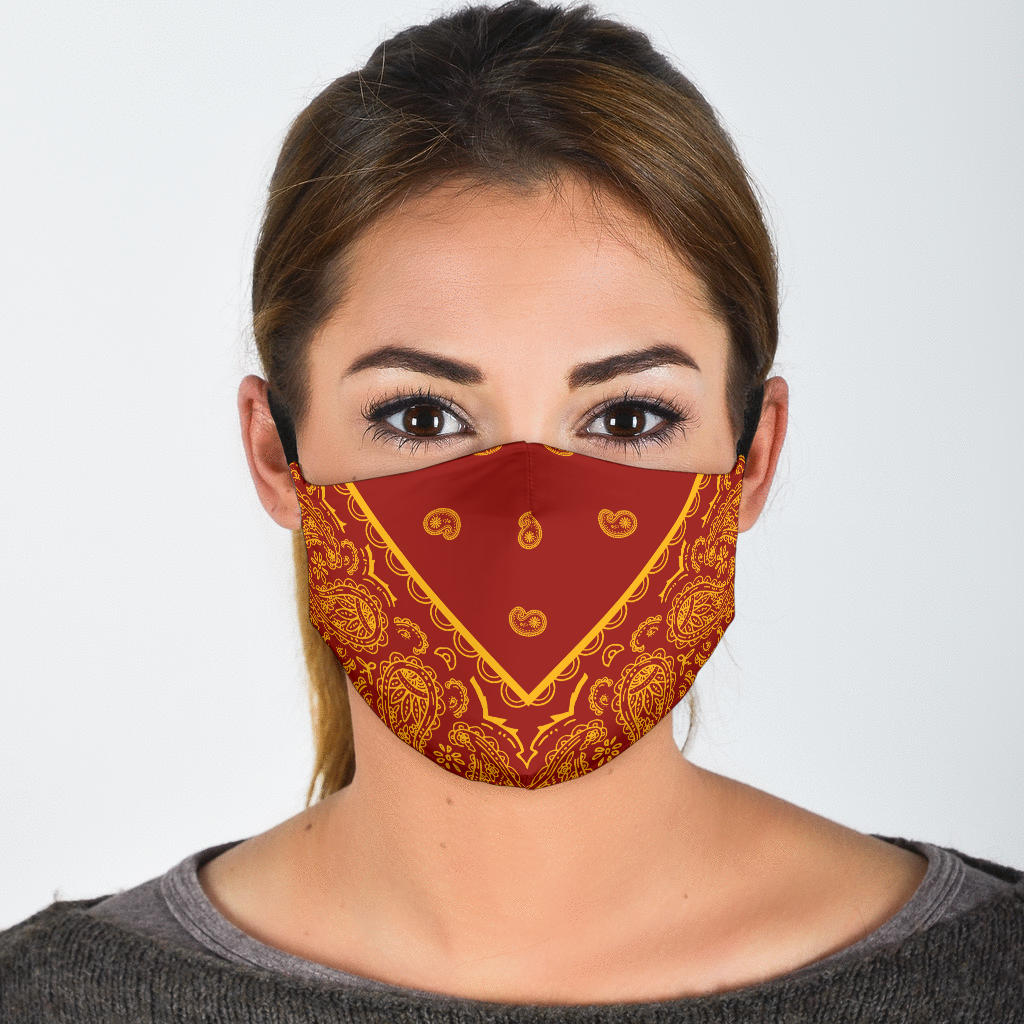 Adjustable Red and Gold Bandana Face Mask with 5 Layer Filters