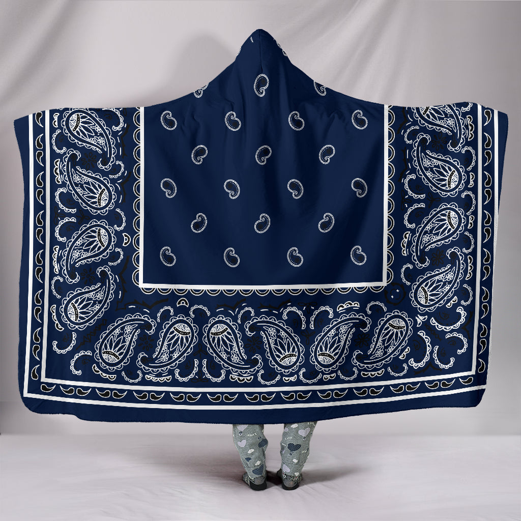 Navy Blue Bandana Hooded Blankets