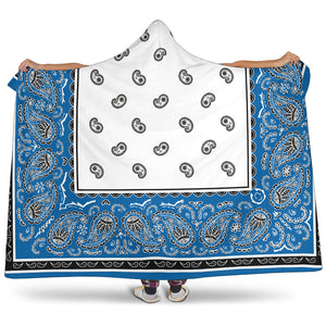 blue and white hooded sherpa blanket