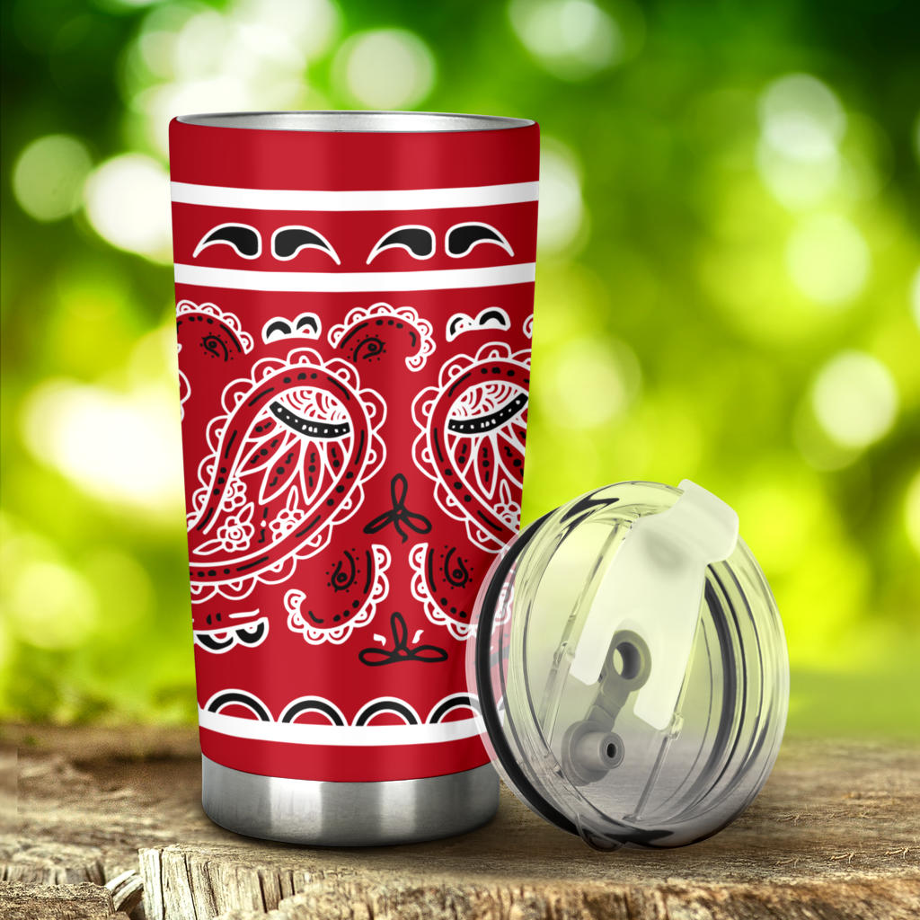 red bandana drink tumbler