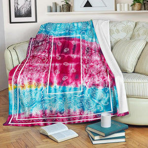 Tie Dye Bandana Fleece Throw blanket