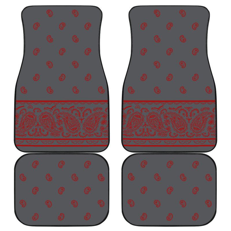 Quad Gray and Red Bandana Car Mats - Fancy