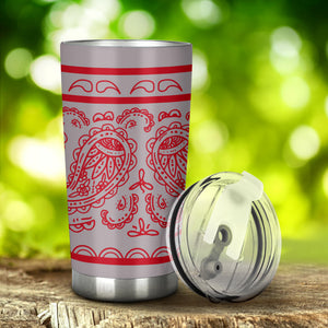 gray and red bandana drinkware