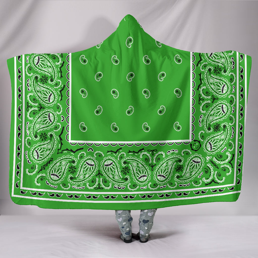 Lime Green Bandana Hooded Blanket