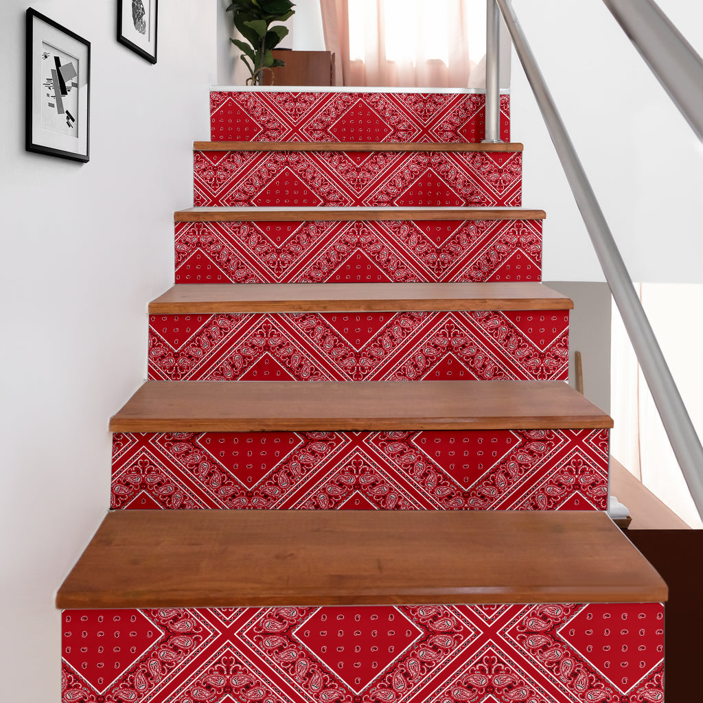 Classic Red Bandana Stair Stickers 6 Steps