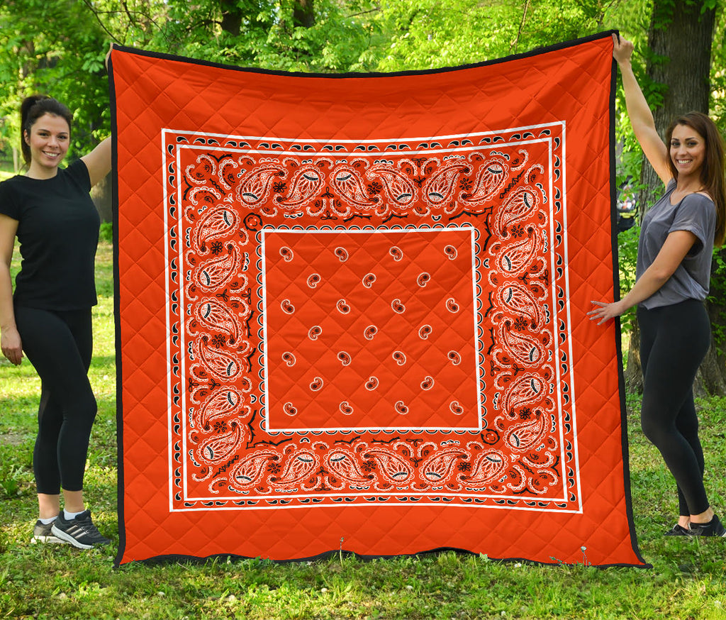 Orange Bandana Quilt Bedding