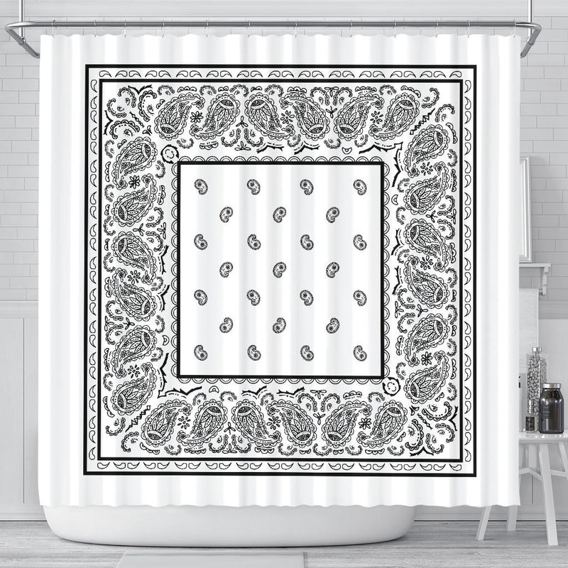 White Bandana Shower Curtain