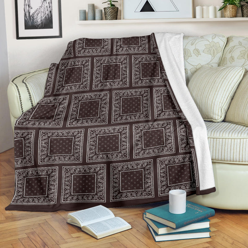 Coffee Brown Bandana Patch Throw Blanket