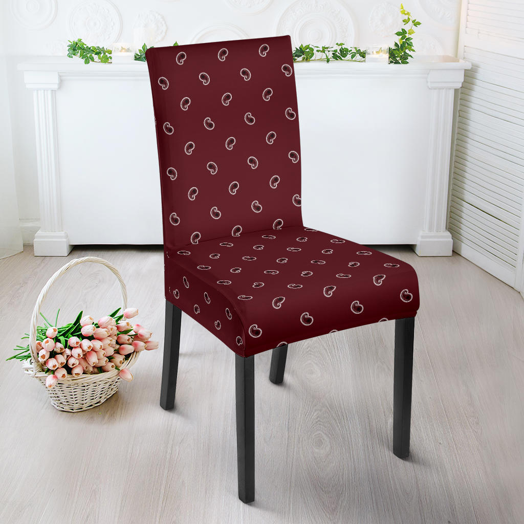 Burgundy Bandana Dining Chair Cover