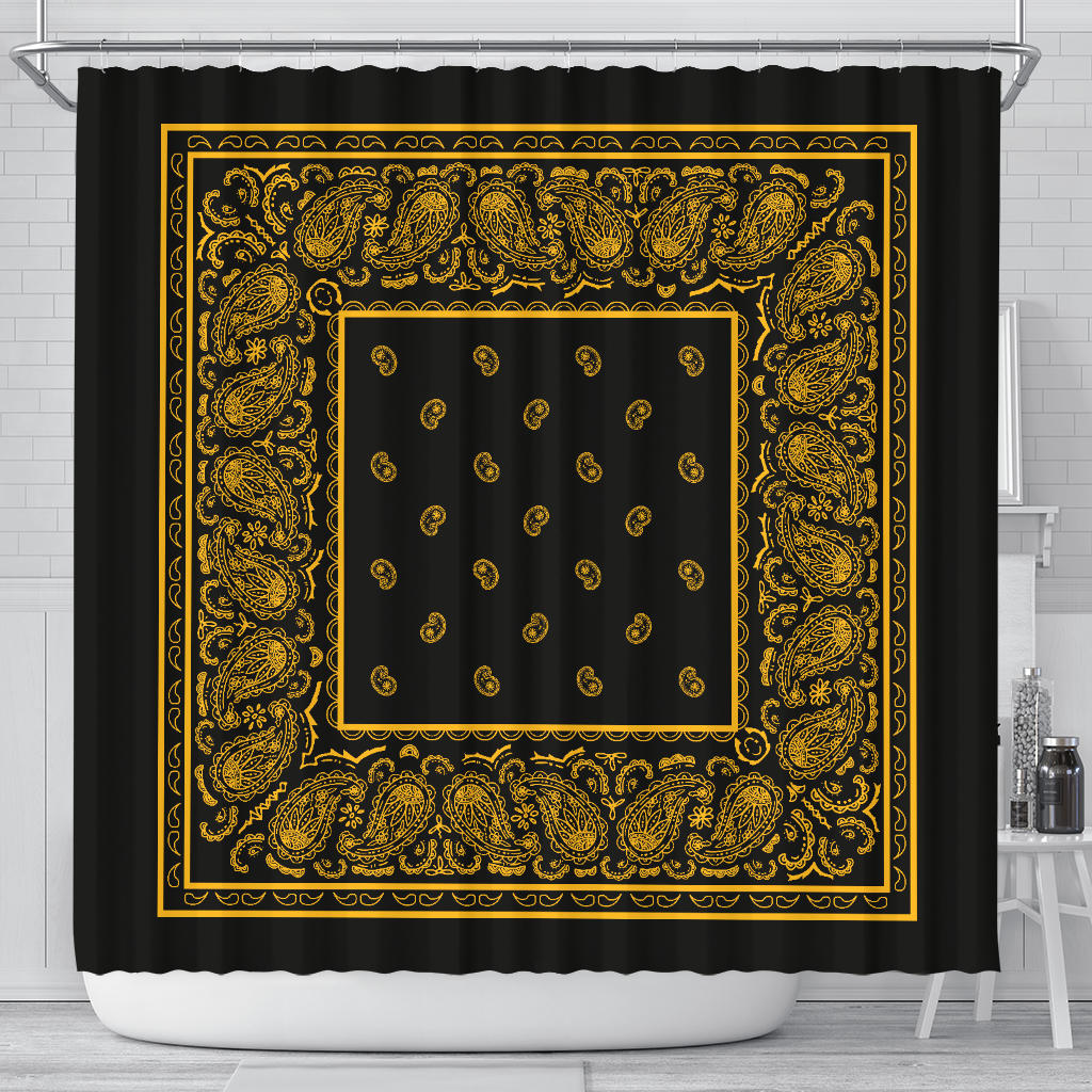 Black Gold Bandana Shower Curtain