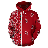 red bandana pullover hoodie front view