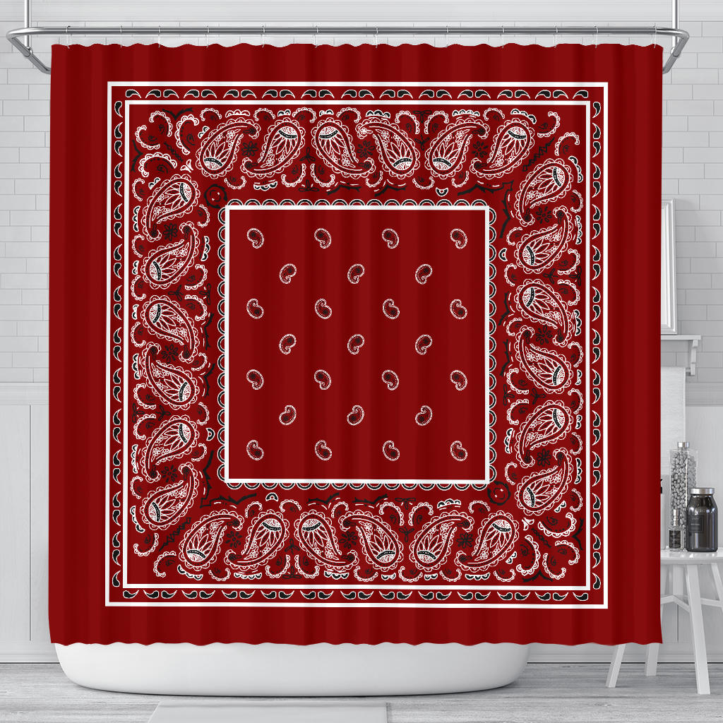 Maroon Bandana Shower Curtain