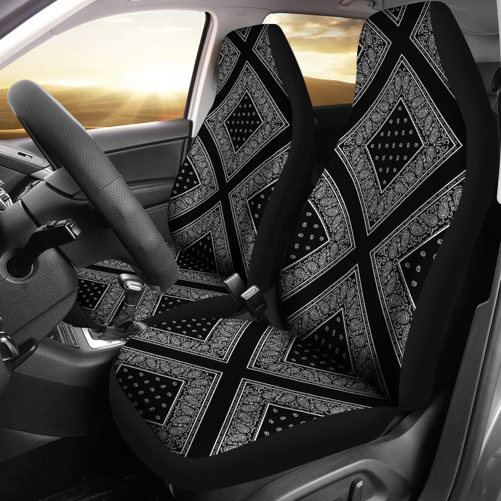 Black with white car seat cover