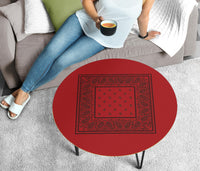 Red and Black Round Birch Wood Coffee Table
