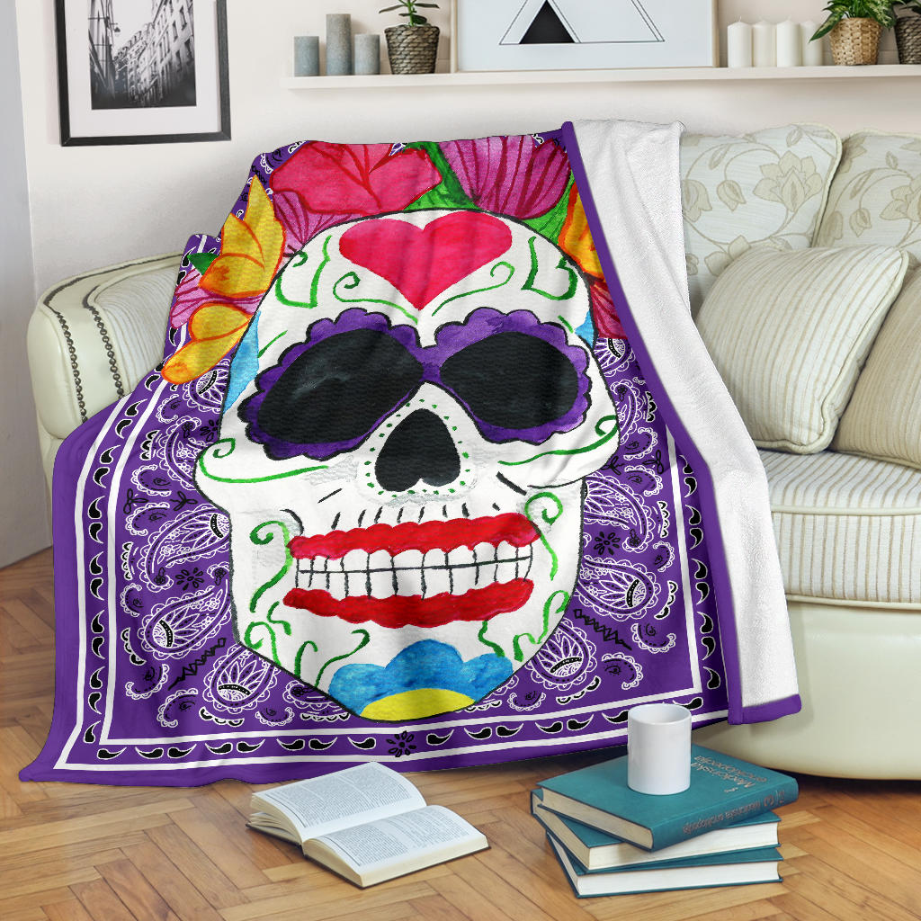 purple blanket with sugar skull