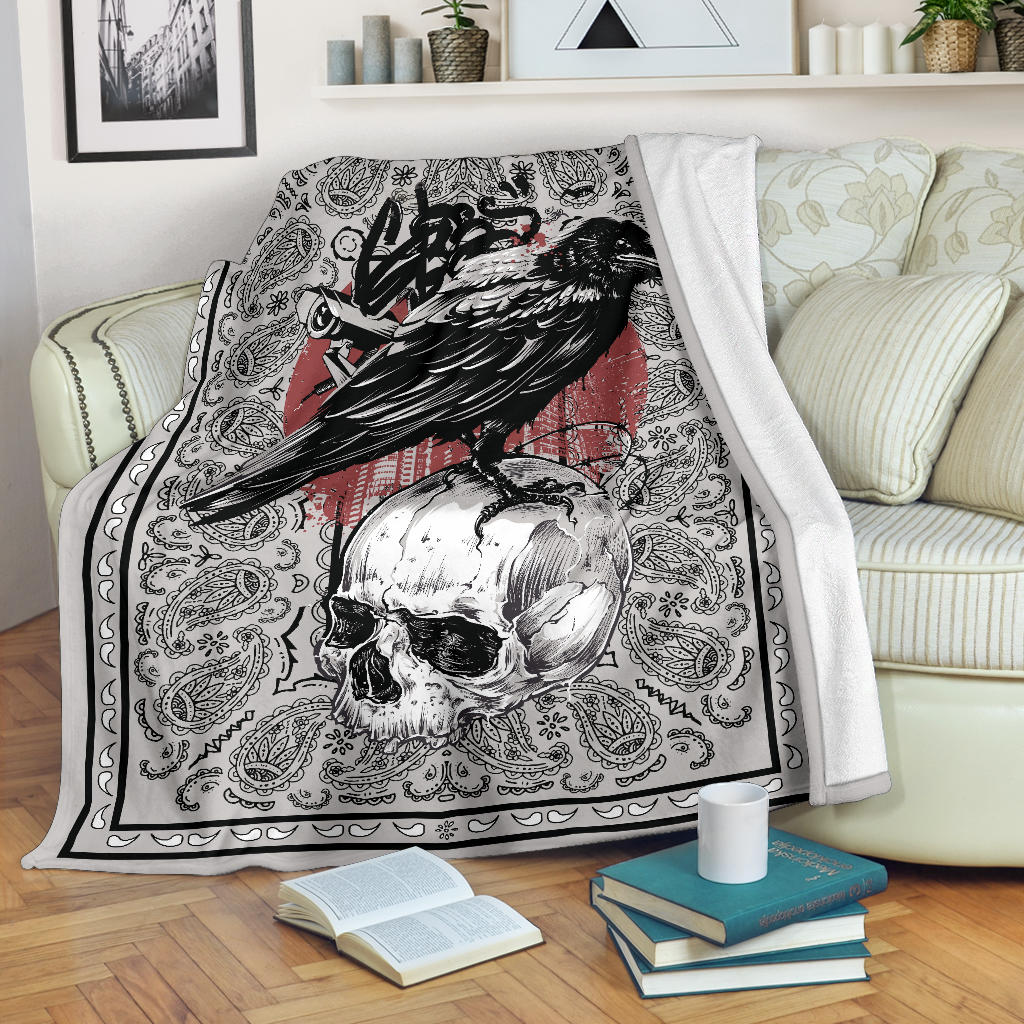 Crow and Skull Bandana Fleece Throw