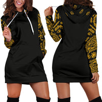 Front and Back of Black Gold Bandana Hoodie Dress