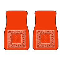 Dual Perfect Orange Bandana Car Mats - Minimal
