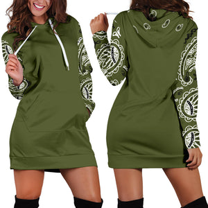 Army Green Bandana Hoodie Dress with boots